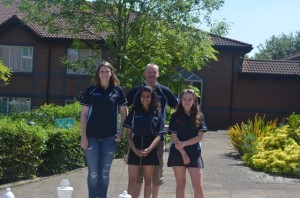 Gilbert Team - Sarah Smith, Stuthi Hegde and Caitlin Reid with coach Peter Smith.